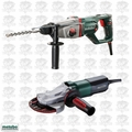 "Metabo KHED-26 1"" SDS Combination Rotary Hammer + Flat Head Grinder Kit"