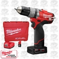 "Milwaukee 2404-22 M12 FUEL 1/2"" Hammer Drill/Driver Kit 2xBatt"