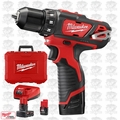 "Milwaukee 2407-22 M12 3/8"" Drill/Driver w/ 3 Batts + Charger"