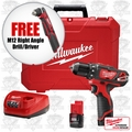 Milwaukee 2407-22 M12 3/8'' Drill/Driver Kit + FREE Right Angle Drill Driver