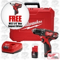 "Milwaukee 2407-22 M12 3/8'' Drill/Driver Kit + FREE 1/4"" HEX Impact Driver"