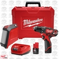 "Milwaukee 2407-22B M12 3/8"" Drill/Driver Kit w/ Blue Tooth Speaker Bundle"
