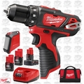 "Milwaukee 2407-22B M12 3/8"" Drill/Driver w/ Bluetooth Speaker + 3 Batts"