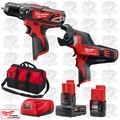 "Milwaukee 2408-20 M12 3/8"" Cordless Hammer Drill/600 MCM Cable Cutter Kit"
