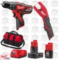 "Milwaukee 2408-20 M12 3/8"" Hammer Drill/Copper Tubing Cutter Kit"
