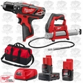 "Milwaukee 2408-20 M12 3/8"" Cordless Hammer Drill/Grease Gun Kit"