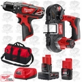 "Milwaukee 2408-20 M12 3/8"" Cordless Hammer Drill/Sub Compact Band Saw Kit"