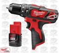 "Milwaukee 2408-20 M12 3/8"" Crdls Hammer Drill Driver + 2.0A Battery"