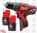"Milwaukee 2408-20 M12 3/8"" Crdls Hammer Drill Driver w/ Two 2.0A Batt"