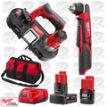 "Milwaukee 2415-20 M12 3/8"" Right Angle Drill Driver/Sub Compact Bandsaw Kit"