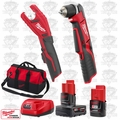 "Milwaukee 2415-20 M12 3/8"" Right Ang Drill/Copper Tubing Cutter Kit"