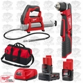 "Milwaukee 2415-20 M12 Cordless 3/8"" Right Angle Drill Driver/Grease Gun Kit"