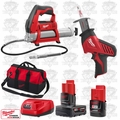 Milwaukee 2420-20 M12 HACKZALL Recip Saw/Cordless Grease Gun Kit