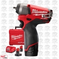 "Milwaukee 2452-22 M12 FUEL 1/4"" Impact Wrench w/ THREE Batteries"