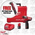 "Milwaukee 2453-22 M12 FUEL 1/4"" Hex Impact Driver Kit + FREE M12 RA Drill"