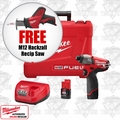 "Milwaukee 2453-22 M12 FUEL 1/4"" Hex Impact Driver Kit + FREE M12 Hackzall"