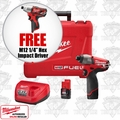 "Milwaukee 2453-22 M12 FUEL 1/4"" Hex Impact Driver Kit + FREE 1/4"" Hex Impact"