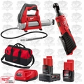 "Milwaukee 2456-20 M12 Cordless 1/4"" Ratchet/Cordless Grease Gun Kit"