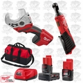 "Milwaukee 2456-20 M12 Cordless 1/4"" Ratchet/PVC Shear Kit"