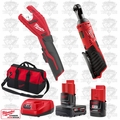 "Milwaukee 2456-20 M12 Cordless 1/4"" Ratchet/Tubing Cutter Kit"