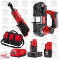 "Milwaukee 2456-20 M12 Cordless 1/4"" Ratchet/Sub Compact Band Saw Kit"