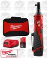 Milwaukee 2456-21 M12 Cordless 1/4'' Ratchet 2 Battery Kit
