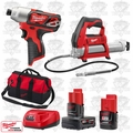 "Milwaukee 2462-20 M12 1/4"" Hex Impact Driver/Cordless Grease Gun Kit"