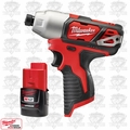 "Milwaukee 2462-20 M12 1/4"" Hex Impact Driver Kit"