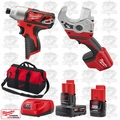 "Milwaukee 2462-20 M12 1/4"" Hex Impact Driver/PVC Shear Kit"
