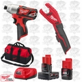 "Milwaukee 2462-20 M12 1/4"" Hex Impact Driver/Copper Tubing Cutter Kit"