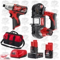 "Milwaukee 2462-20 M12 1/4"" Hex Impact/Sub Compact Cordless Band Saw Kit"