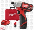 "Milwaukee 2462-22 M12 1/4"" Hex Impact Driver Lithium-Ion"