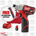 "Milwaukee 2462-22 M12 1/4"" Hex Impact Driver Kit + FREE M12 Right Angle Drill"