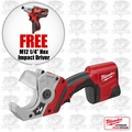 "Milwaukee 2470-21 M12 Cordless PVC Shear Kit + 1/4"" Hex Impact Driver"