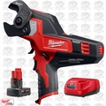 Milwaukee 2472-20 M12 12V 600 MCM Cable Cutter w/ 4.0Ah XC Batt + Charger