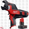Milwaukee 2472-20 M12 12V 600 MCM Cable Cutter w/ 4.0Ah XC Battery