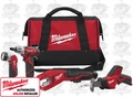 Milwaukee 2490-24 M12 Drill, Tubing Cutter, Hackzall & Light Combo Kit