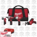 Milwaukee 2491-24 M12 Screwdriver, Impact, Hackzall & Light Combo Kit