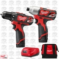 Milwaukee 2494-22 M12 Drill / Impact Combo Kit