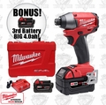 "Milwaukee 2653-22 M18 FUEL 1/4"" Hex Compact Impact ""3"" 4.0ah XC Batts"