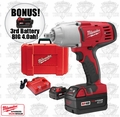 "Milwaukee 2662-22 1/2"" Hi/Trq Detent Impact Wrench Kit + 3rd Batt = 4.0ah"