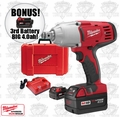 "Milwaukee 2664-22 3/4"" High Torque Impact Wrench Kit + 3rd Batt = 4.0ah"