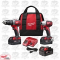 Milwaukee 2697-22 M18 2-Tool Combo Kit XC Batts Hammer & Impact Kit