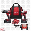 Milwaukee 2697-22 M18 2-Tool Combo XC Hammer Impact + LED Flood Light Kit