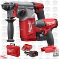 "Milwaukee 2712-22 M18 FUEL 1"" SDS Plus Rotary Hammer w/ Impact Wrench"