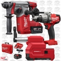 "Milwaukee 2712-22DE M18FUEL 1"" SDSPlus Rotary Hammer w/Dust Kit+Hammer Drill"