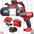 Milwaukee 2729-22 M18 Fuel Deep Cut Cordless Band Saw w/2 Batt+Impact Wrench