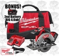 "Milwaukee 2730-21 M18 FUEL 6-1/2"" Circular Saw Kit ""2"" 4.0ah XC Batts"