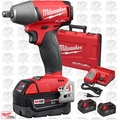 "Milwaukee 2755B-22 M18 FUEL 1/2"" Impact Wrench Friction Ring + 3 5.0Ah Batts"