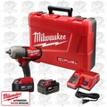 "Milwaukee 2762-22 M18 FUEL 1/2"" High Torque Impact Wrench Kit w/ Detent Pin"